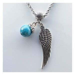 🔴SALE Blue hemimorphite gemstone & angel wing